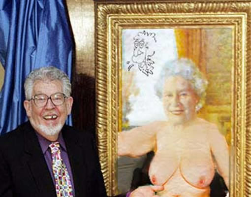Rolf Harris with his painting of the Queen