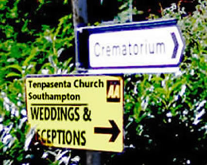 Crematorium sign and weddings